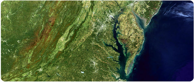 Landsat image: the Chesapeake Bay and Mid-Atlantic States